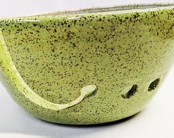 Yarn bowl in Lime and White, Knitting Bowl, Crochet Bowl,Yarn, Thread