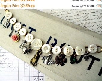 MOVING SALE On Sale Tea Pot Button Charmer Vintage Mother of Pearl Button Locket Charm Bracelet
