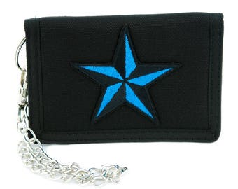 Blue Nautical Star Tri-fold Wallet Alternative Clothing Tattoo Rockabilly Symbol - YDS-EMPA-048-BLUE-Wallet
