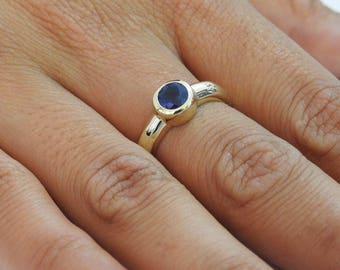 Engagement Ring, Solitaire Ring, Sapphire Ring, 14K Yellow gold, September Birthstone