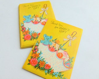Baby Gift Thank You Notes Lot of 10 Unused Mid Century Greeting Cards