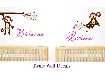 twins wall decal monkey wall sticker baby girl wall decals  Large   wall decal    Monogram Personalized  Vinyl Wall Decal