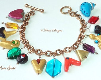Rose Gold Stainless Steel Legend of Zelda Ocarina of Time Charm Bracelet Handmade Sculpted Custom Charms One of a Kind OOAK by TorresDesigns