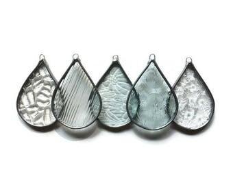 Clear Textured Glass Raindrops - Set of 5 Sun Catchers Window Decor