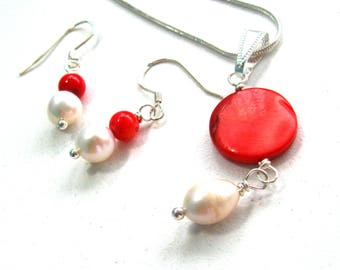 Red and white, jewelry set, Mother of Pearl, Freshwater pearls, dangle earrings, pendant necklace