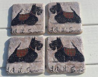 Mr Scottie Dog in his Snow Jacket Coaster Set of 4 Tea Coffee Beer Coasters