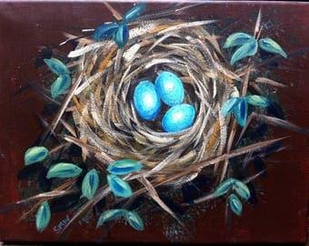 Blue Eggs Bird Nest, Birds Nest Painting,  Mixed Media, Nature Art, Childrens Wall Art, Home Decor, 12 x 9 ins