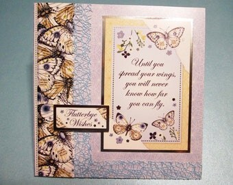 """Handmade Card - Wishes on Wings """"FLUTTERBYE WISHES"""" - All Occasion or Birthday"""