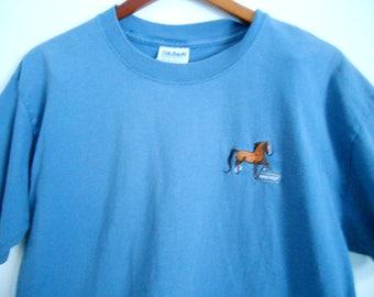 Breyer Horse Embroidered Blue T-Shirt Mens L