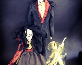 Macabre One of a Kind Folk Art Doll Set Red Riding Hood and The Big Bad wolf Skeleton Form Strange Gothic Nightmare Fairytale Grimm Werewolf