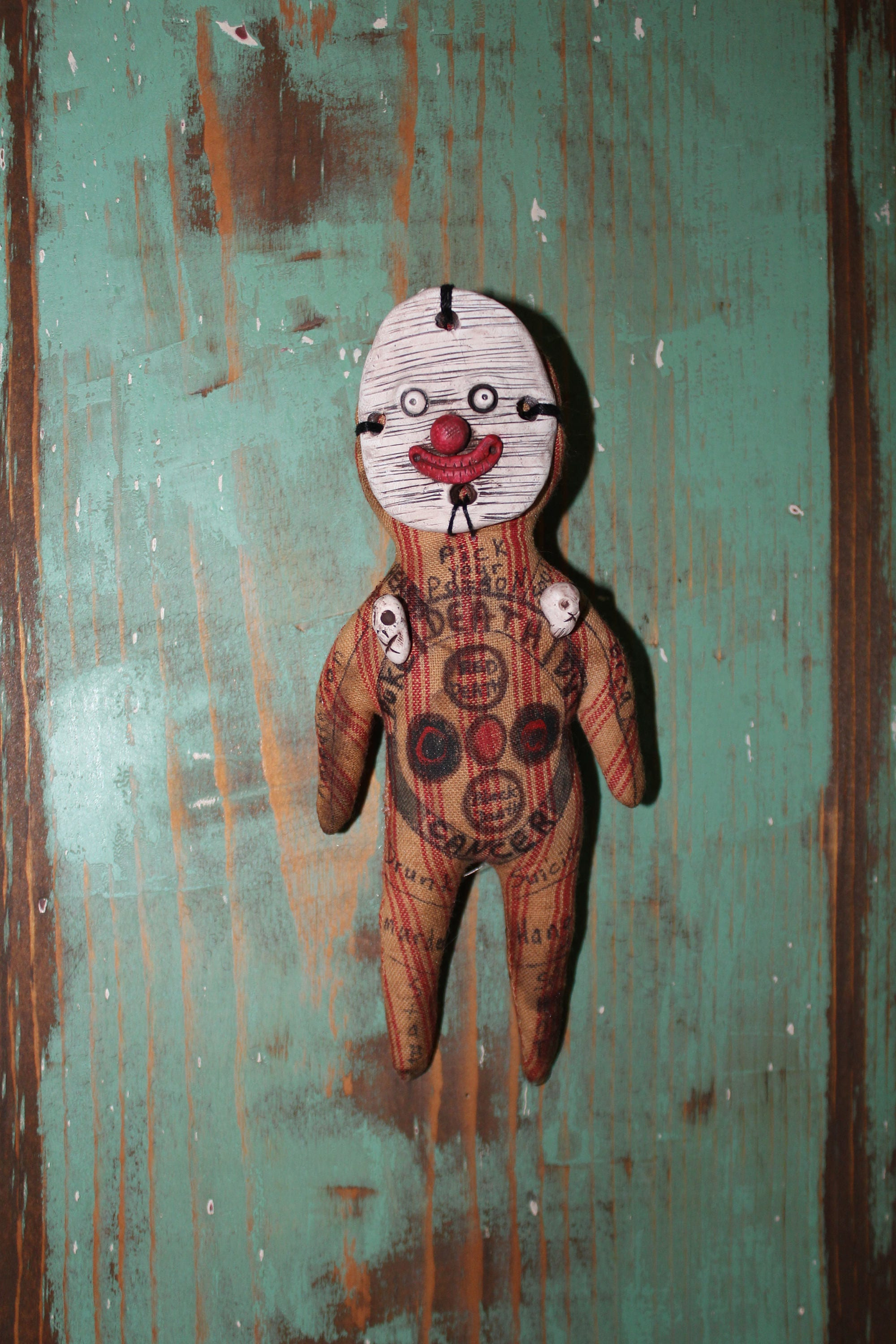 Vintage wooden music stand book stand by vintagearcheology on etsy - Original Handmade Voodoo Hoodoo Clown Art Doll Circus Fetish For Macabre Carnival Display Or Witch Poppet