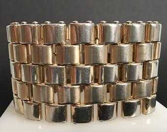 Kreisler Wide Gold Bracelet, Vintage Jewelry, Signed 40s Vintage Bracelet, Track Bracelet, Tank Tread, Gold Plated Modernist Style Jewelry