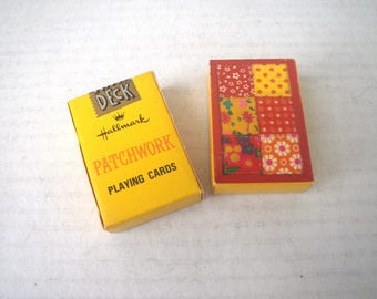 Two Patchwork Quilt Mini Deck Playing Cards 1970s Miniature Childrens Pocket