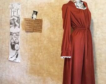 Vintage 70s Polka Dot Rust Chestnut Brown Vintage Dress  small medium