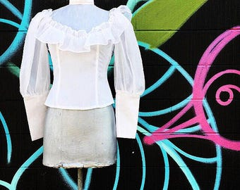 Vintage Romantic Early 70s Snow White Long Sleeve High Neck Ruffle Blouse  small  extra small