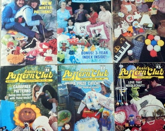 Annie's Pattern Club Newsletter Magazine Full year 1983  Crochet Dolls, Bears Afghans, Sew Pillows, Dolls, Clothes & More