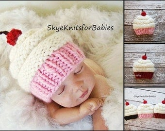 Knit Cupcake Hat, Baby Cupcake Hat, Cupcake Beanie, Baby Girl Hat, Baby Boy Hat, Newborn Hat, Newborn Photography Prop, Newborn Photo Prop