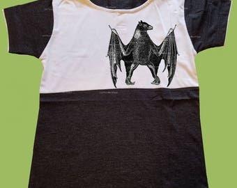 Boys Hooded T-Shirt, Vintage Black shirt, Bat design, Boys grahic shirt, Birthday outfit, preschool shirt, toddlers,  ChiTownBoutique