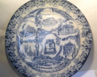 An Antique English Blue Pottery Philadelphia Plate A19