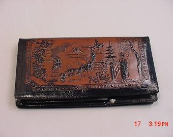 Vintage Leather Tooled Japan Theme Ladies Wallet   17 - 879