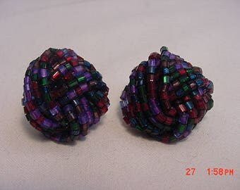 Vintage Purple - Blue - Red Glass Beads Clip On Earrings  18 - 456