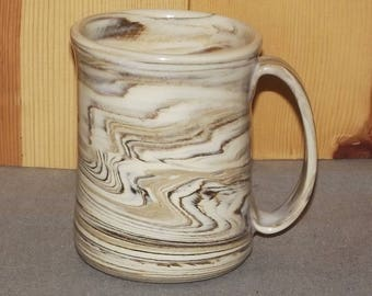 Original Hand Thrown Pottery Coffee Cup using colored clays..... Agateware 20 oz