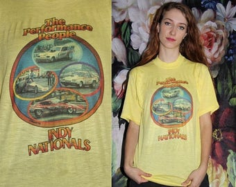 On SALE 35% Off - Rare 70s Vintage Yellow The performance People Indy Nationals 76' Car Racing Graphic Paper Thin Ringer T Shirt - 70s Cloth