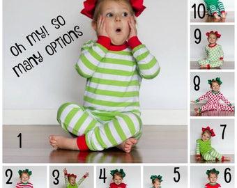 Christmas PJ PREORDER, Christmas Pajamas, Family PJs, Matching Christmas PJs, Christmas PJs, Red, Green, Doll, Baby, Dog
