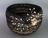 Fabric Coiled Basket, Black Gold
