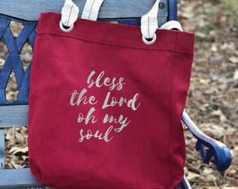 Bless the Lord oh my soul canvas school bag red, shoulder canvas bag, tote everyday bag, farmers market bag, big bag tote, Christmas gift