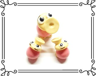 Cold Porcelain Clay Miniature Horn Duck Mama & Baby Duckling Figurines Set, Alice in Wonderland Character, Bird Cake Toppers, Alice Fan Gift
