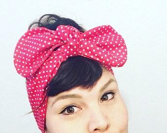 Retro Headscarf Red Polka Dots