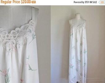 20% off SALE vintage 1980s nightgown - EVE STILLMAN floral slip nightie dress / M