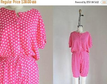 AWAY SALE 20% off vintage 1980s romper - UNITED Color of Benetton pink polka dot playsuit / M-L