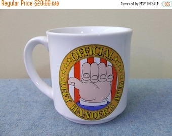 CLEARANCE Official Left Hander's Mug - Ceramic Japan Recycled Paper Products Coffee Cup Mug Retro Ceramic