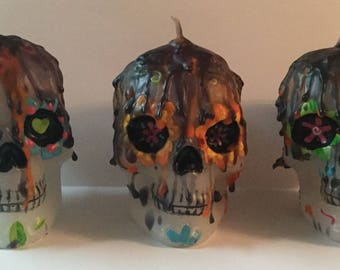 Samhain Day of the Dead Skull Set of 3 Candles Hallows Eve Halloween Wicca Pagan Spirituality Religion Hoodoo Ancestor MaidenMotherCrone