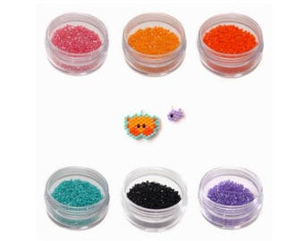 Miyuki Delica Seed Beads 11/0, 6 Colors Set for Crab and Fish Pattern, 1 Gram Packets