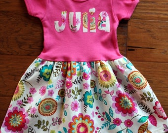 Personalized Toddler Dress -  floral, short sleeve party dress, first day of school,  boutique style dress
