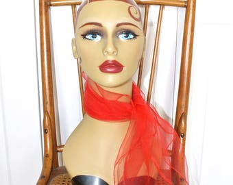 1950s LIPSTICK Red Rockabilly Sheer Scarf . Vintage 50s 60s Sheer Chiffon Nylon Neck or Head Scarf . Made in Japan
