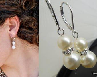 Pearl earrings, Bridal Pearl Earrings, Swarovski Pearls, Bridal Rhinestone Earrings, Pearl Rhinestone Earrings, Classic Earrings, KRISTEN