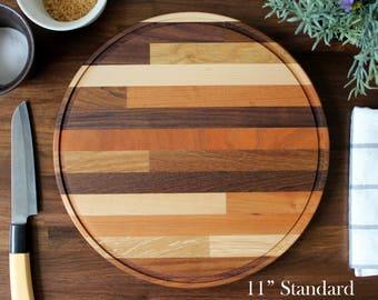 Craftsman Mixed 6 Wood Round Cutting Board - Classic Midcentury Modern / Butcher Block Design Style