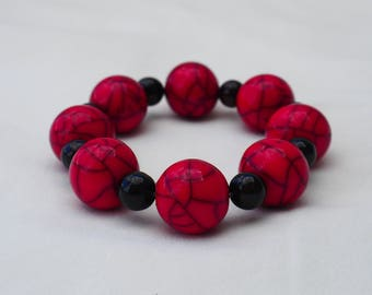Red Stretch Bracelet - 7 inches