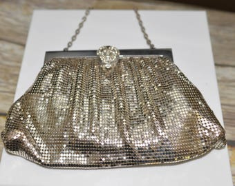 Whiting and Davis Rhinestone and Metal Mesh Purse Vintage 1950s Made in USA Evening bag