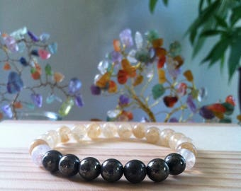 "Handmade Natural Citrine & Pyrite Gemstone Bracelet, Natural Yellow Citrine Gemstone Stretch Bracelet, Money Prosperity 7"" Stretch Bracelet"