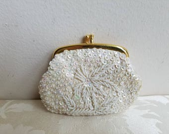 Vintage Change Coin Purse Beaded Sequins Ivory Iridescent Glam Made in Hong Kong