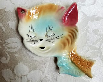 Vintage Cat Head Ceramic Spoon Rest Ash Tray 1940's Kitchen Wall Art Plaque, Kitty Kitten Trinket Dish, Aqua & Rose Pink