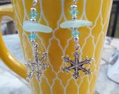 Sea Glass Snowflake Earrings Blue Winter Snow Jewelry