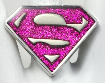 Superman Logo Statement Ring/Silver/Sparkly/Magenta/Gift For Her/Novelty Ring/Adjustable/Under 20 USD