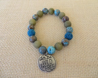 Blue Lace Agate Tan Druzy And Lava Stone With Charm Stretchy Aromatherapy Bracelet