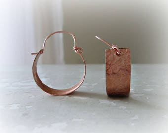 Modern Copper Hoops, Copper Hoop Earrings, Metalwork Jewelry, Copper Earrings, Boho Hoop Earrings, Botanical Earrings, Patterned Earrings